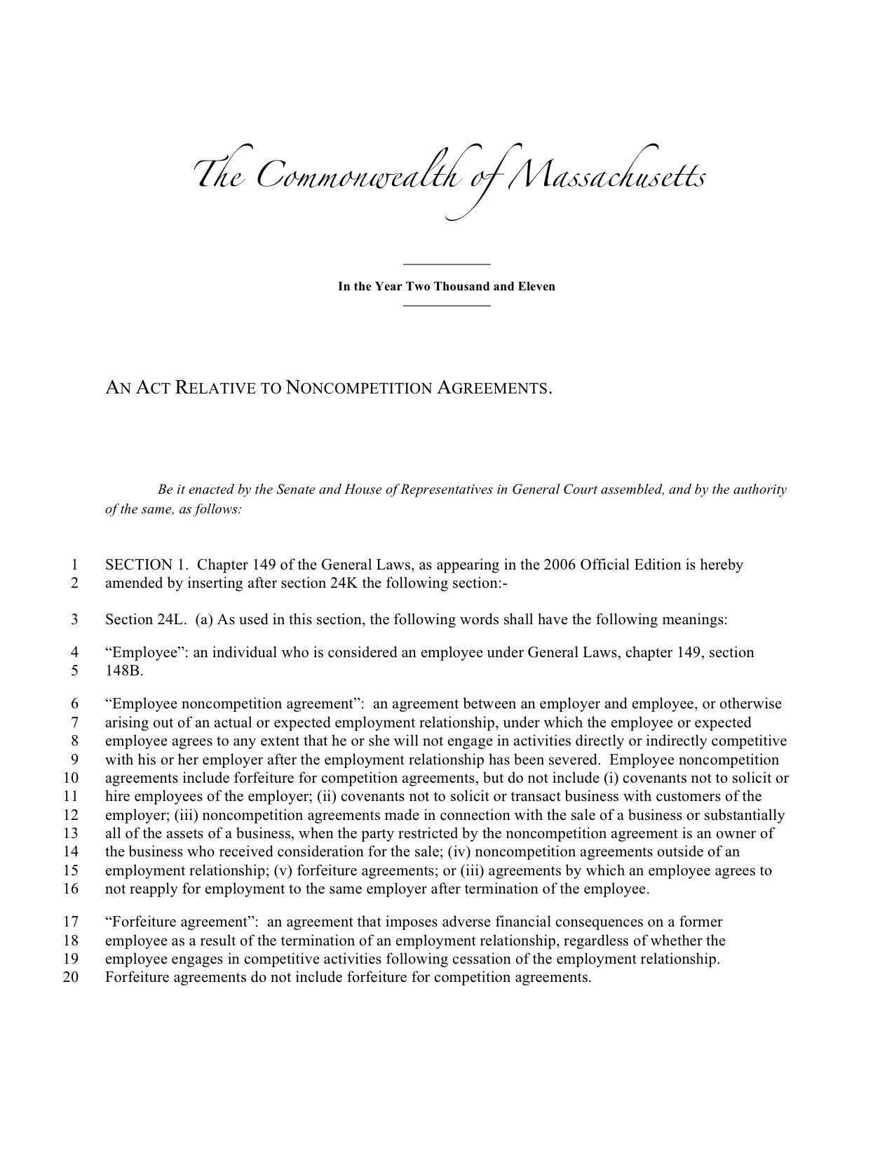 Massachusetts Noncompete Bill Refiled Fair Competition Law